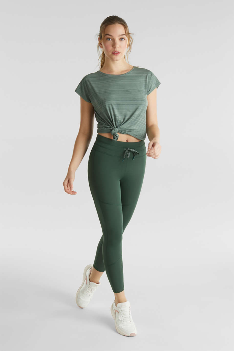 Active leggings with reflective stitching, E-DRY, KHAKI GREEN, detail image number 1