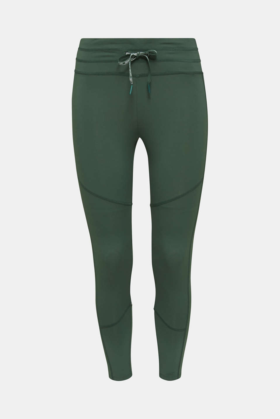 Active leggings with reflective stitching, E-DRY, KHAKI GREEN, detail image number 6