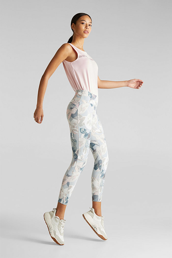 Cropped active leggings with print, E-DRY