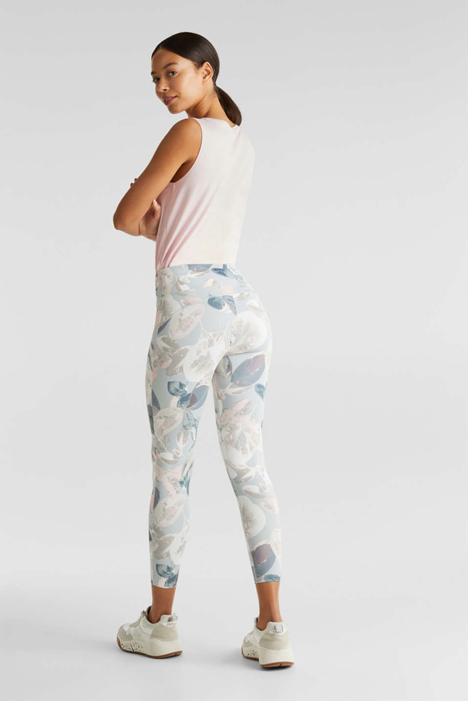 Cropped active leggings with print, E-DRY, LIGHT PINK 3, detail image number 2