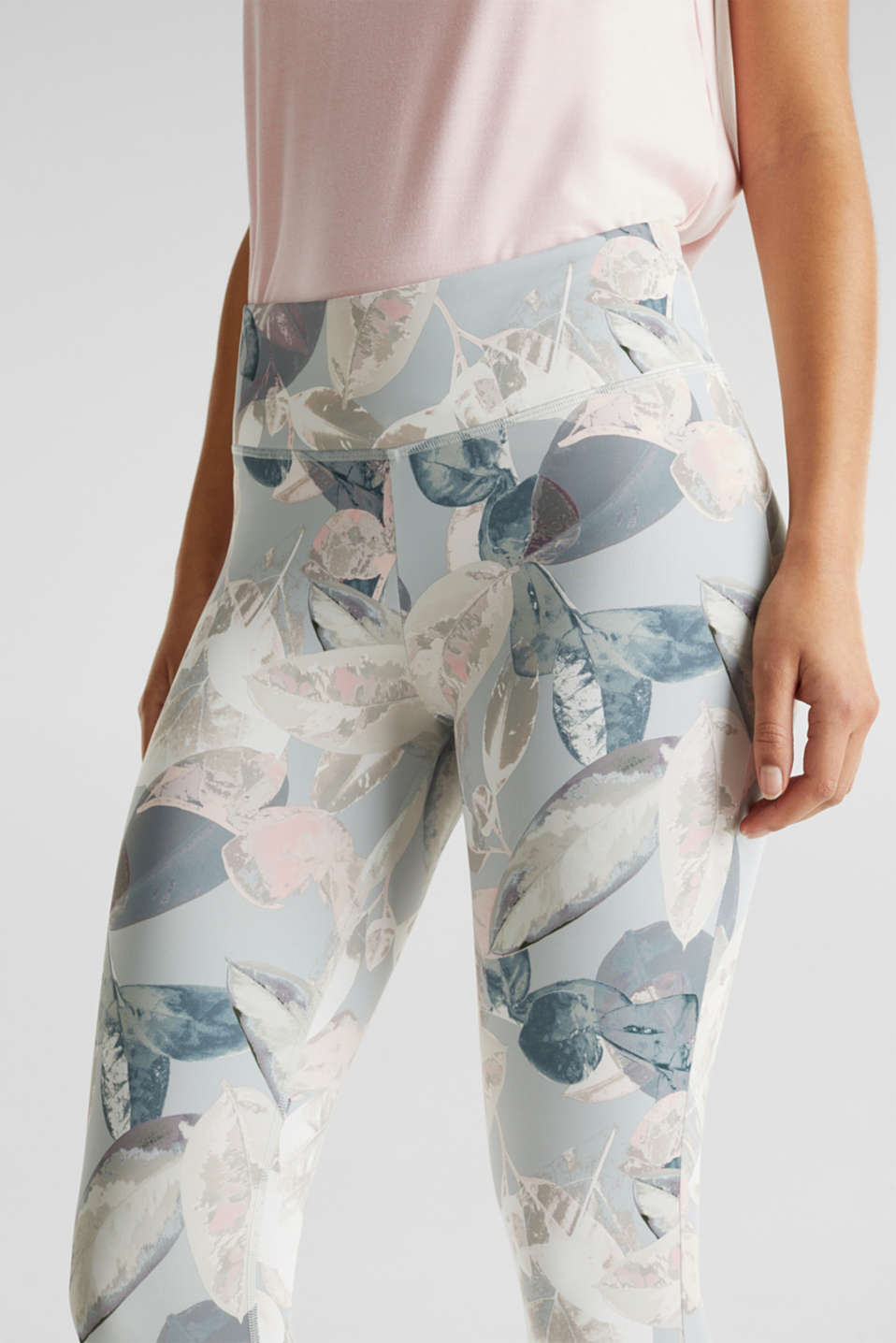 Cropped active leggings with print, E-DRY, LIGHT PINK 3, detail image number 1
