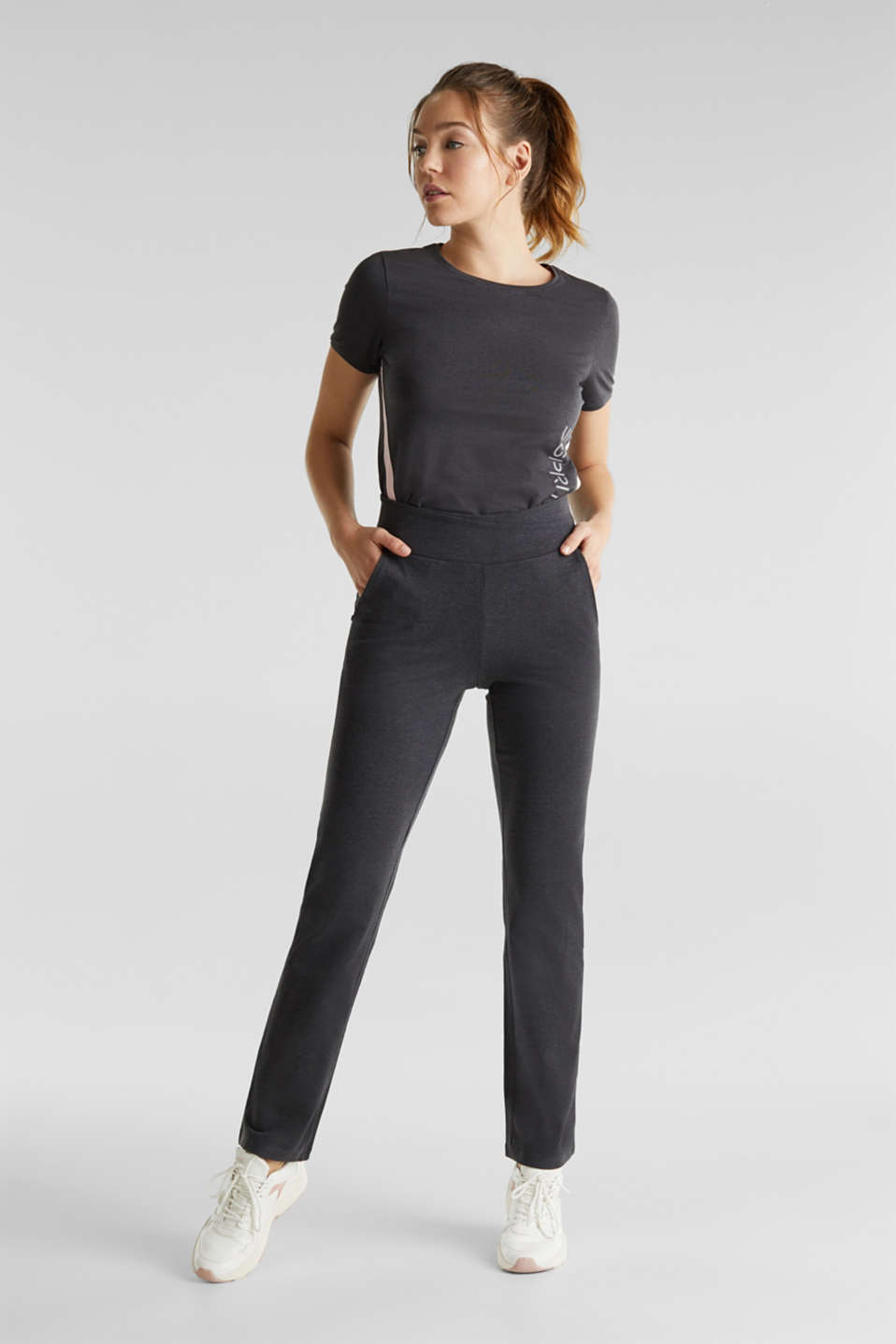 Stretch jersey trousers with organic cotton, ANTHRACITE 2, detail image number 0