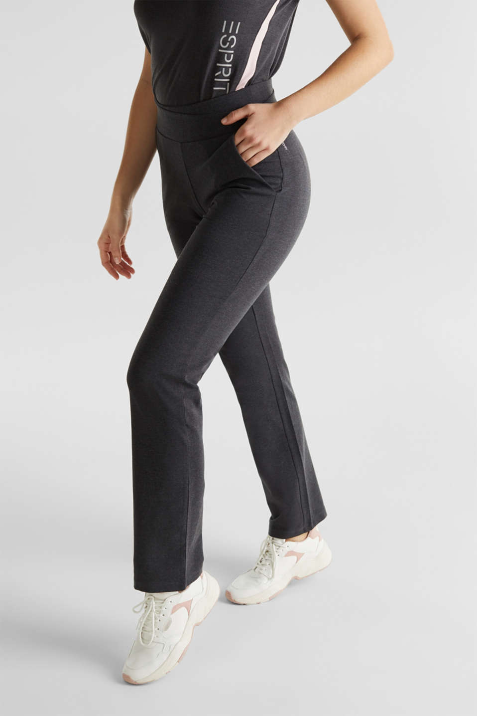 Stretch jersey trousers with organic cotton, ANTHRACITE 2, detail image number 5