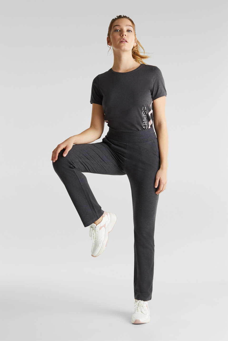 Stretch jersey trousers with organic cotton, ANTHRACITE 2, detail image number 1