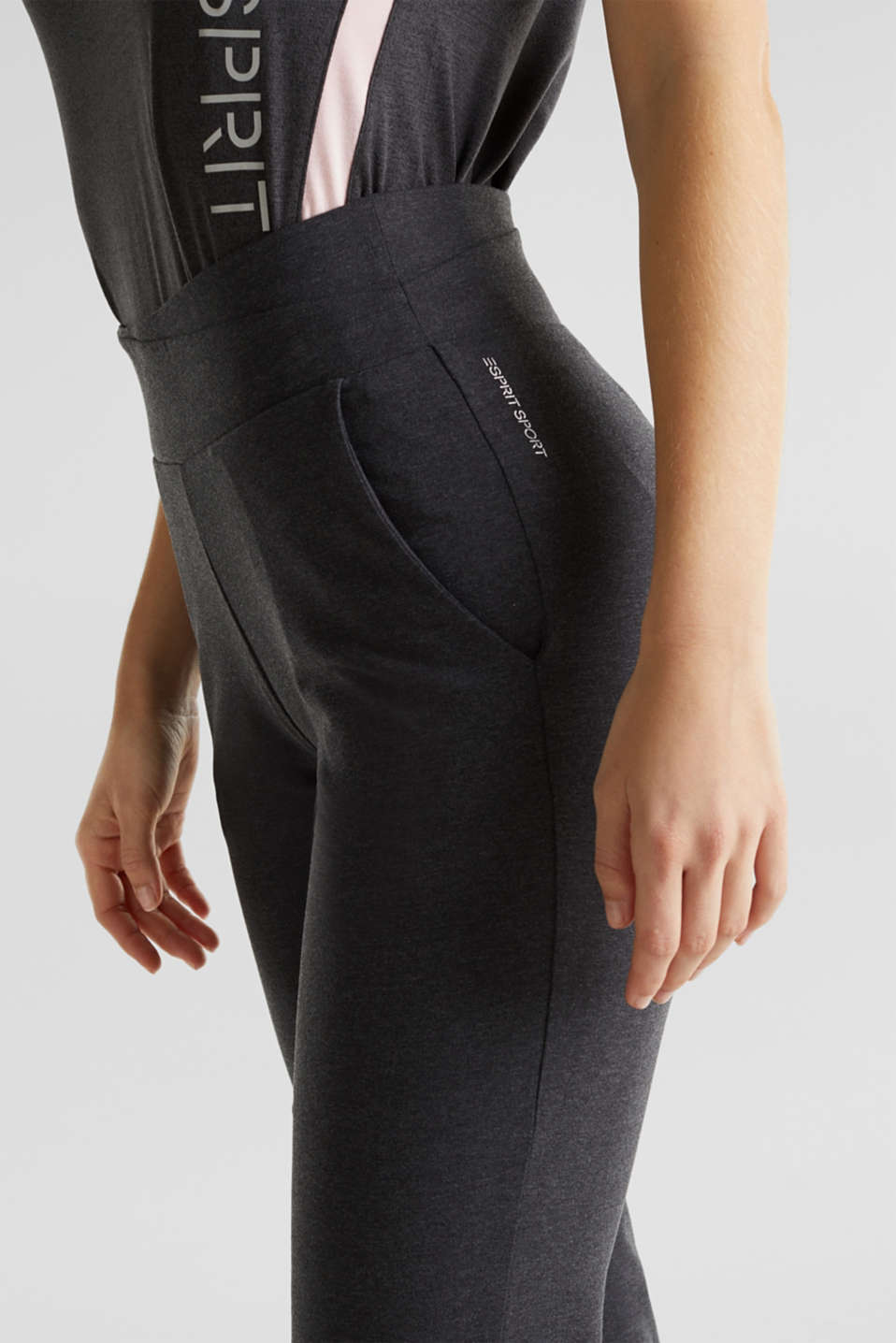 Stretch jersey trousers with organic cotton, ANTHRACITE 2, detail image number 2