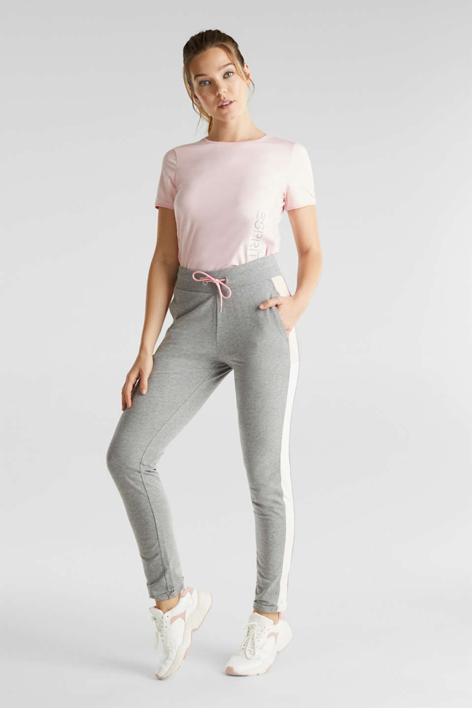 Esprit - Jersey-Stretch-Pants mit Color-Block-Streifen