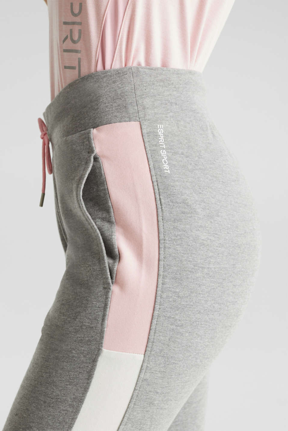Stretch jersey trousers with colour block stripes, MEDIUM GREY 2, detail image number 1