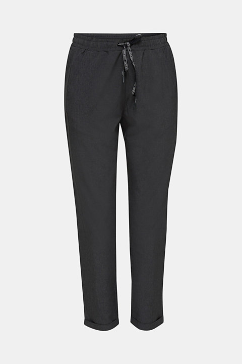 Melange woven trousers with stretch, E-DRY