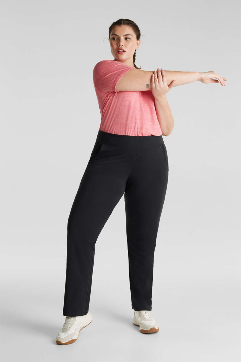 NEW YEAR. NEW ME. Straight leg stretch trousers, BLACK, detail image number 1
