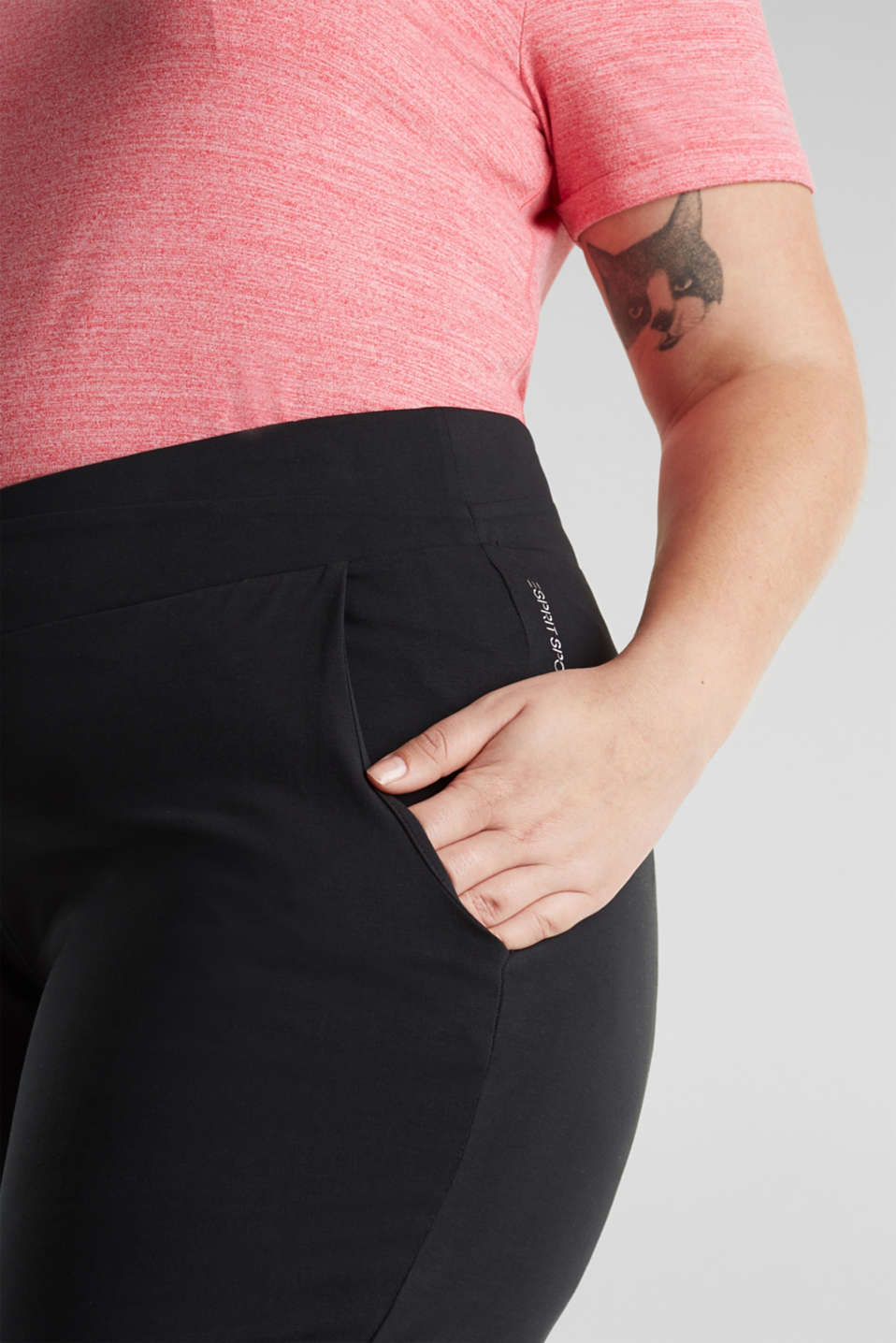 NEW YEAR. NEW ME. Straight leg stretch trousers, BLACK, detail image number 4