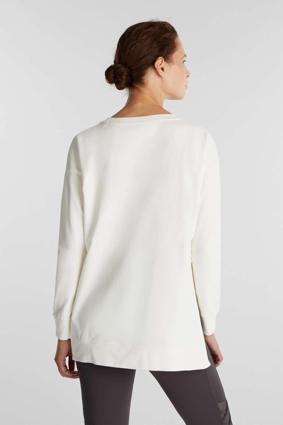 Stretch cotton sweatshirt, OFF WHITE, detail image number 3