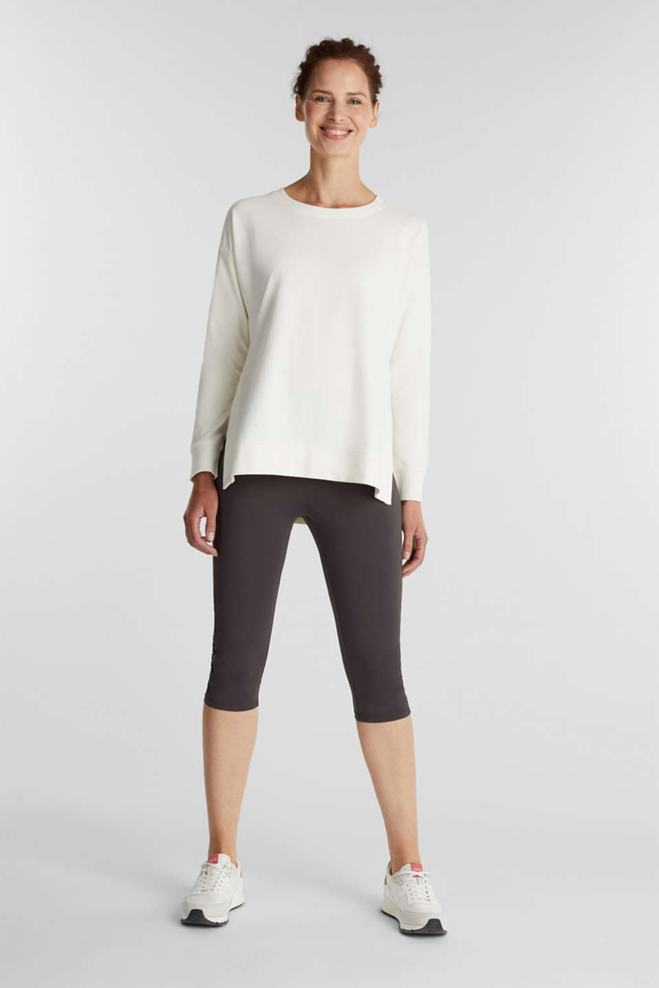 Stretch cotton sweatshirt, OFF WHITE, detail image number 1
