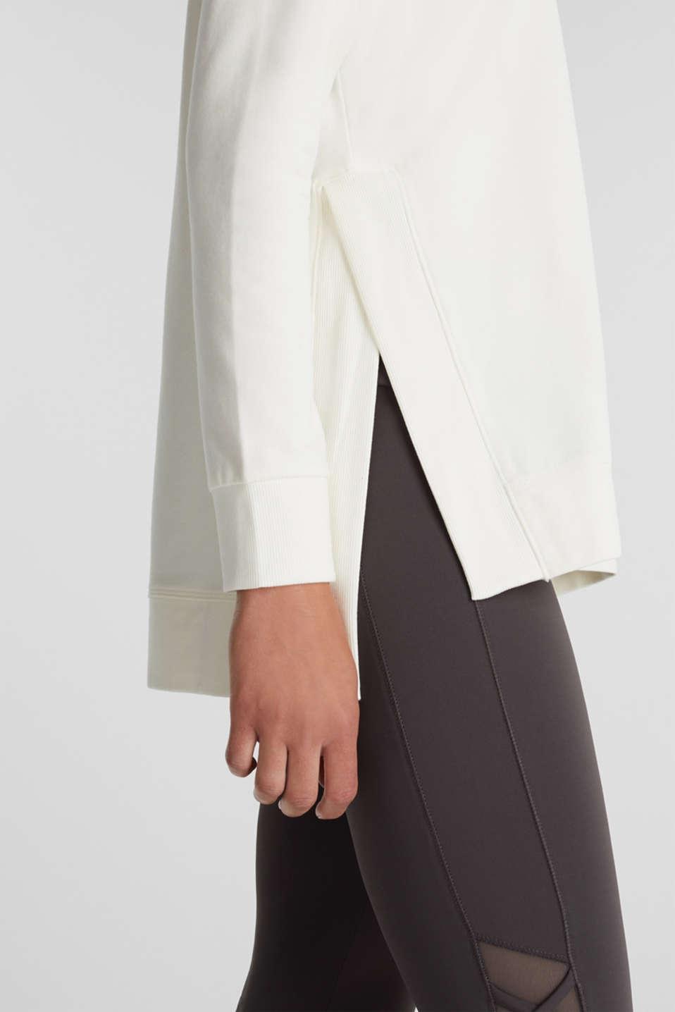 Stretch cotton sweatshirt, OFF WHITE, detail image number 2