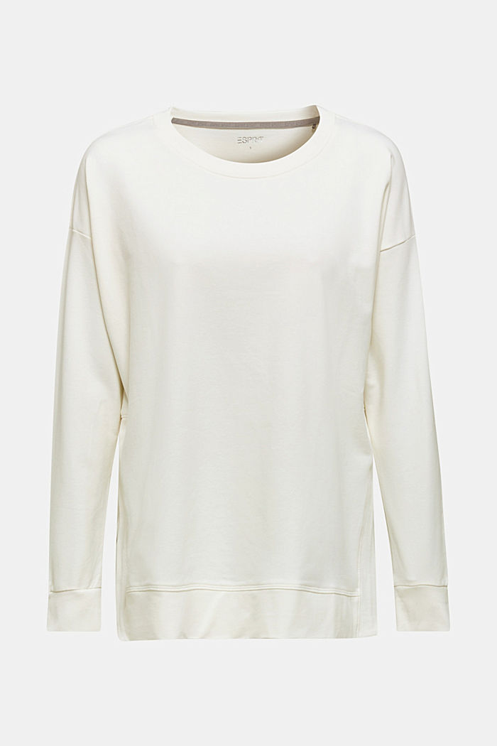 Stretch cotton sweatshirt, OFF WHITE, detail image number 6