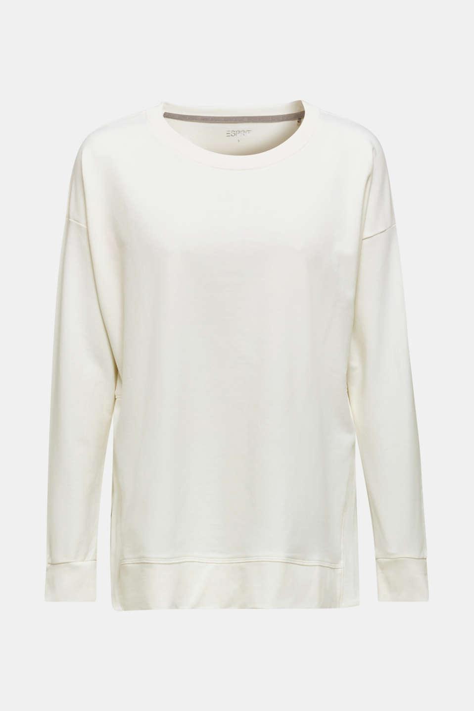Stretch cotton sweatshirt, OFF WHITE, detail image number 6