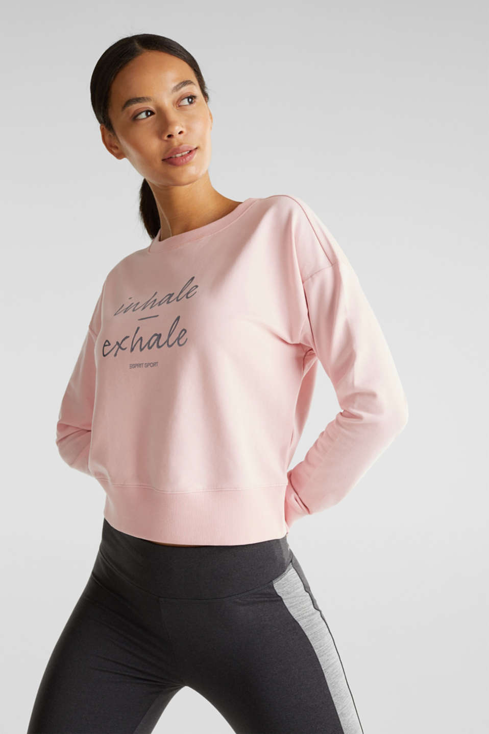 Esprit - Short print sweatshirt with stretch