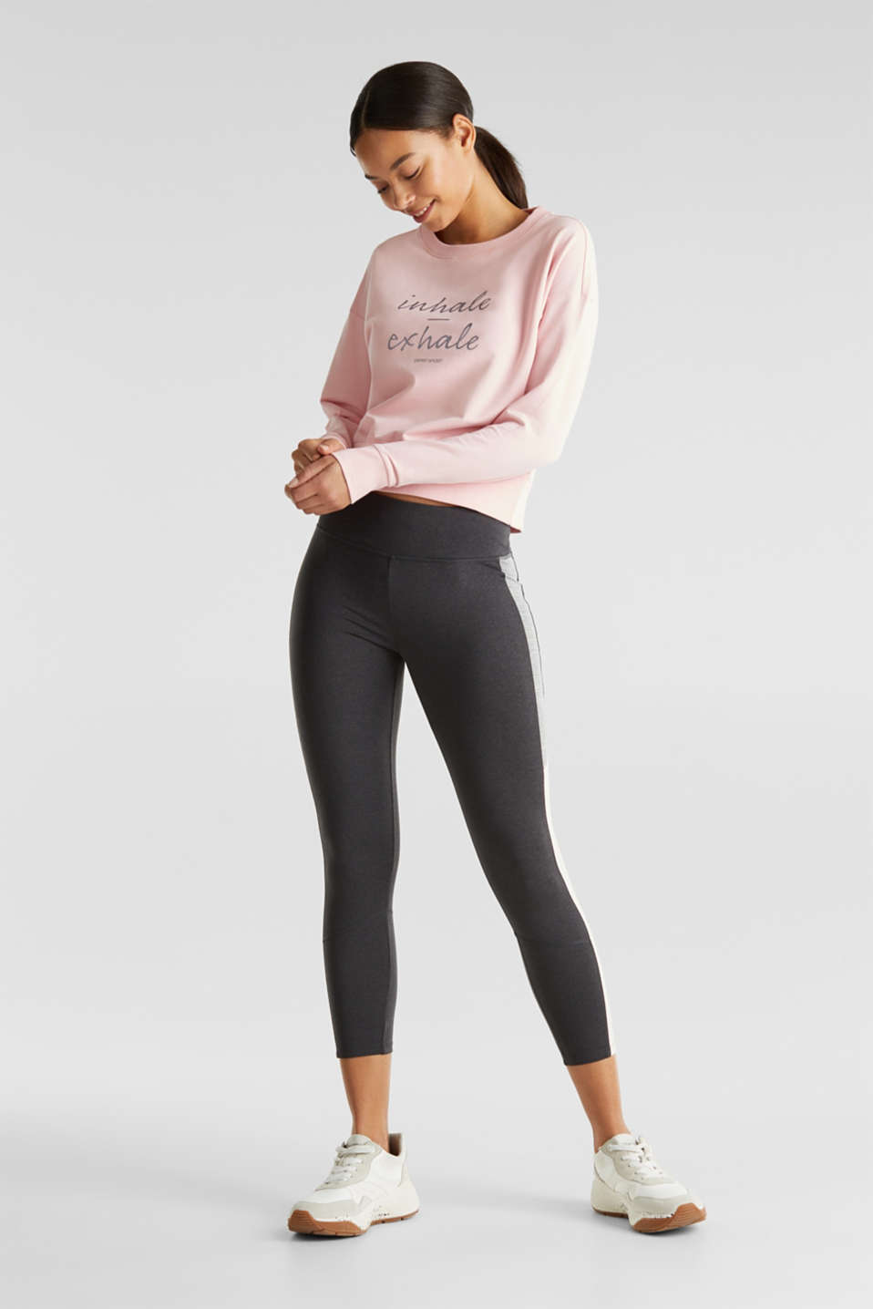 Short print sweatshirt with stretch, LIGHT PINK, detail image number 1