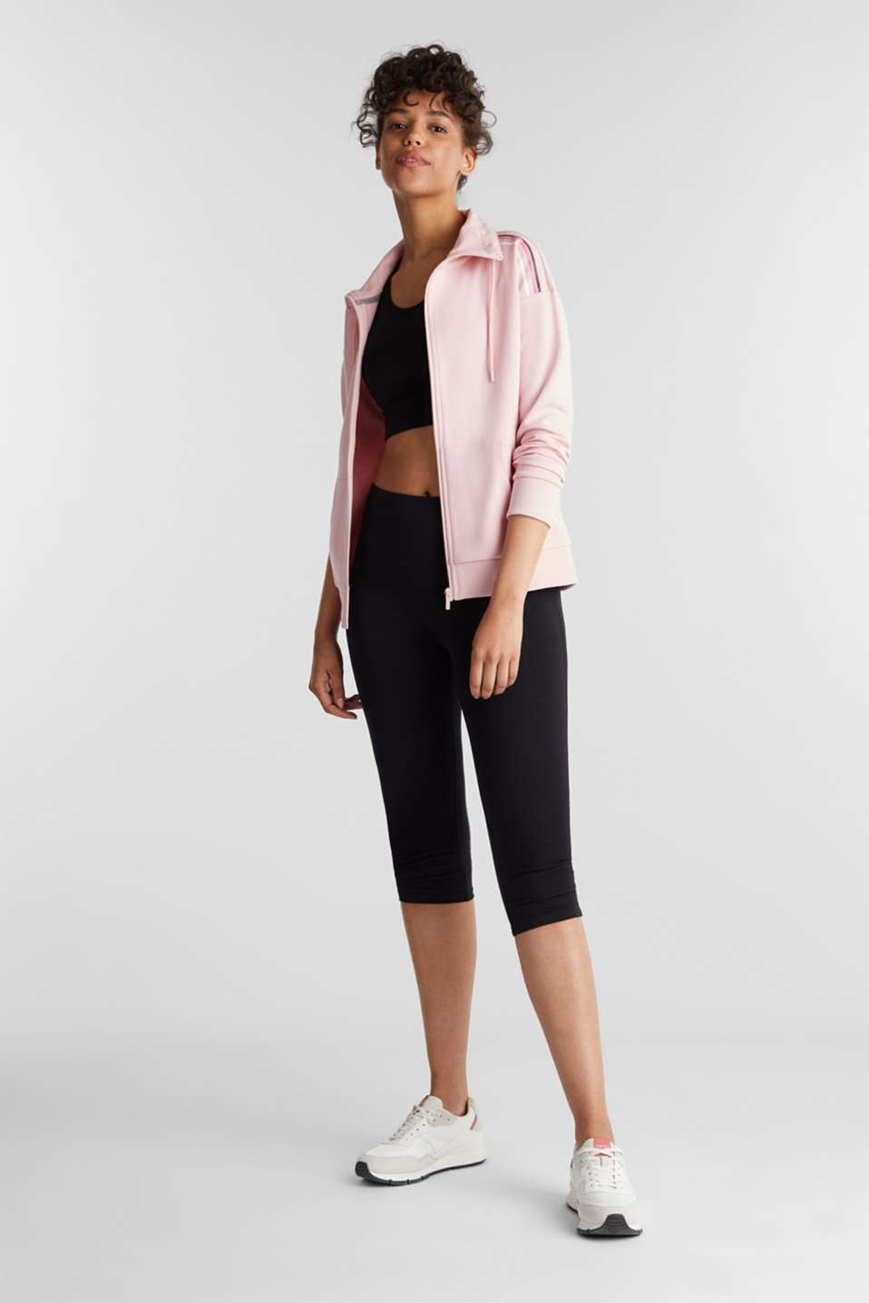 Cardigan with a drawstring collar, LIGHT PINK, detail image number 1