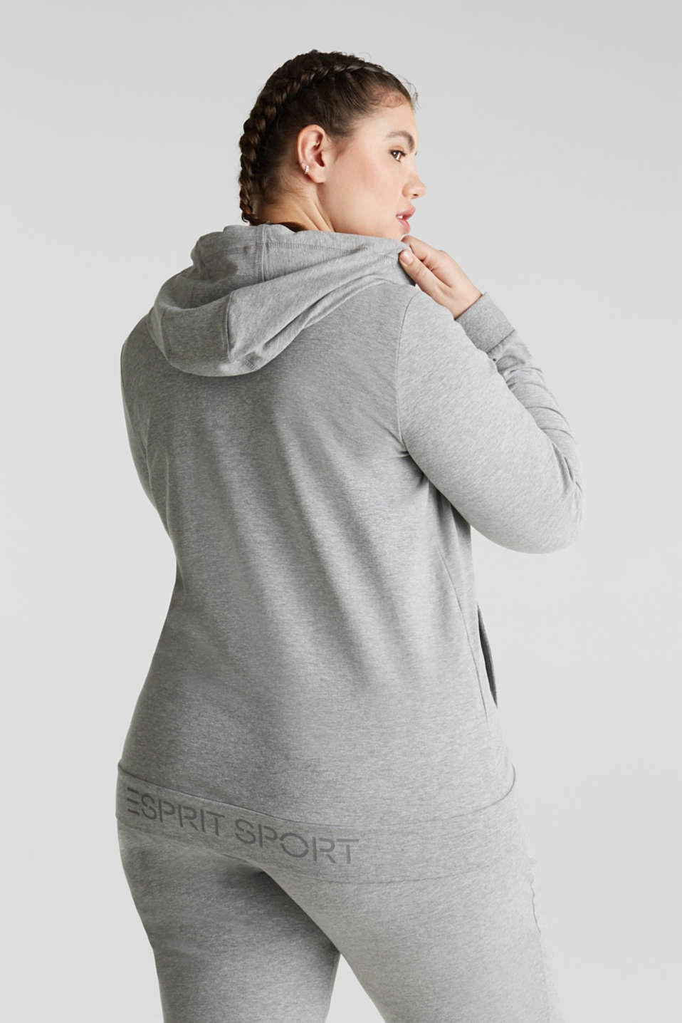 NEW YEAR. NEW ME. Hooded sweatshirt cardigan, MEDIUM GREY 2, detail image number 3