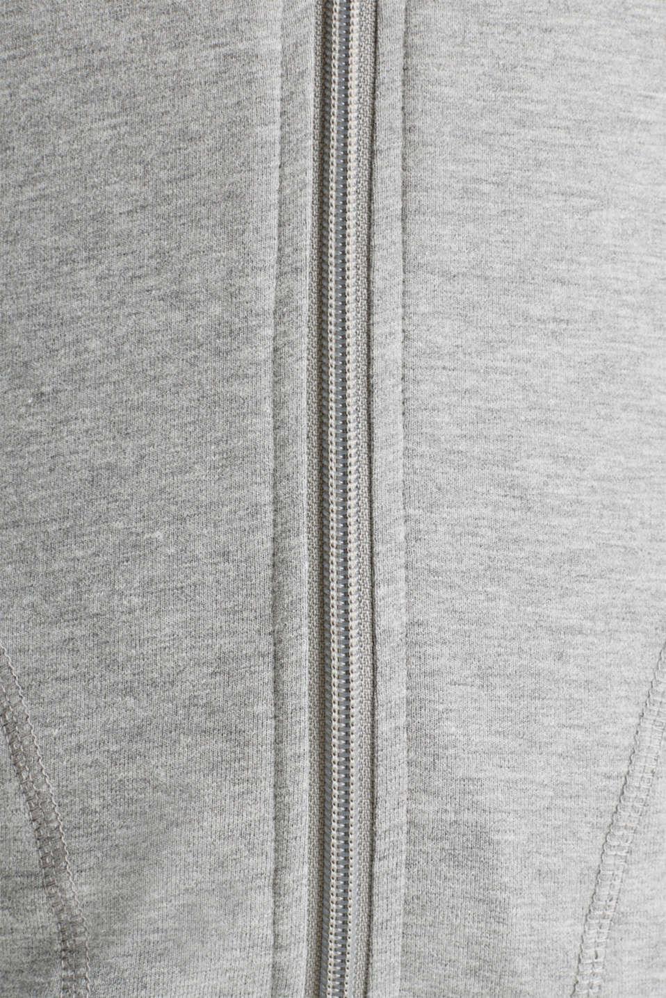 NEW YEAR. NEW ME. Hooded sweatshirt cardigan, MEDIUM GREY 2, detail image number 4