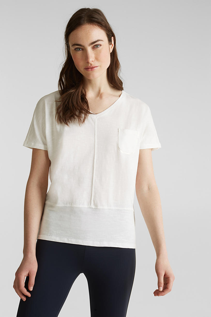 Cropped, boxy slub T-shirt, 100% cotton