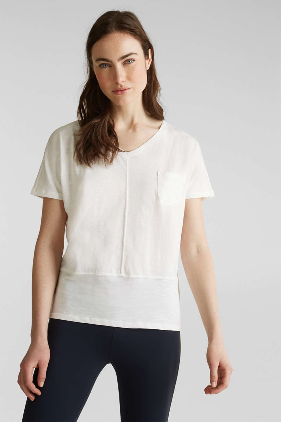 Esprit - Cropped, boxy slub T-shirt, 100% cotton