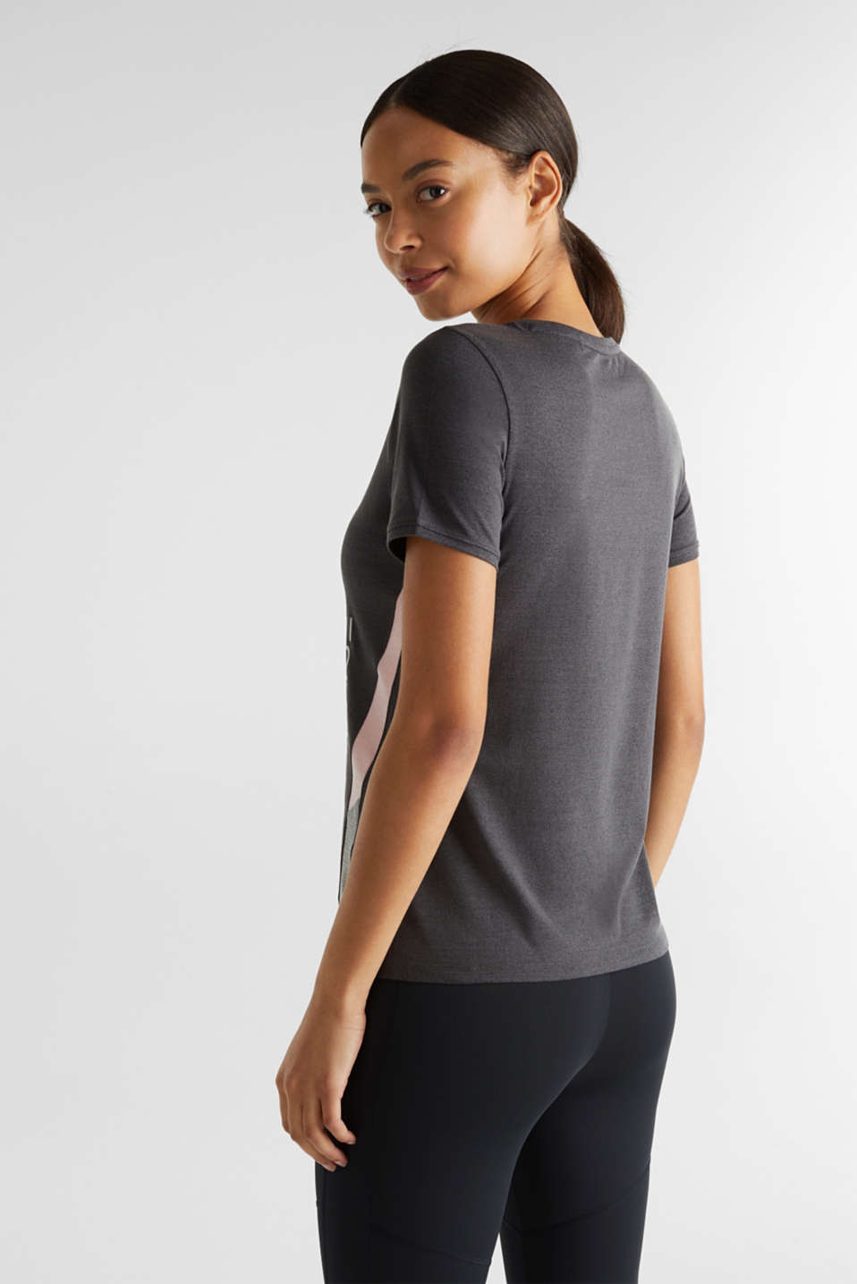 Stretch top with colour block stripes, E-DRY, ANTHRACITE 2, detail image number 3
