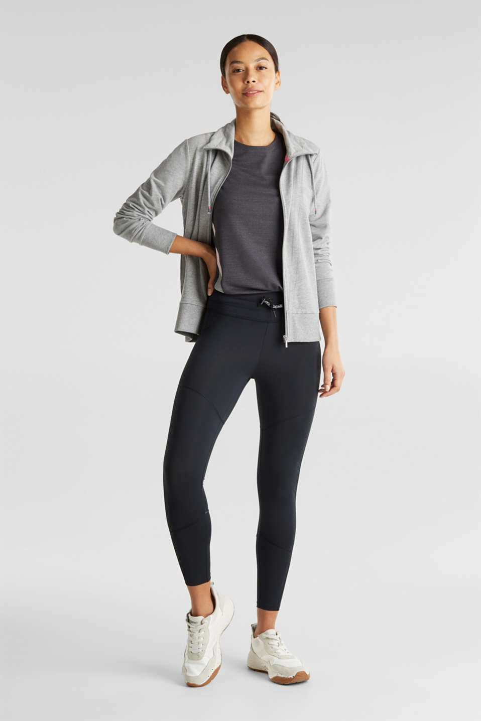 Stretch top with colour block stripes, E-DRY, ANTHRACITE 2, detail image number 1