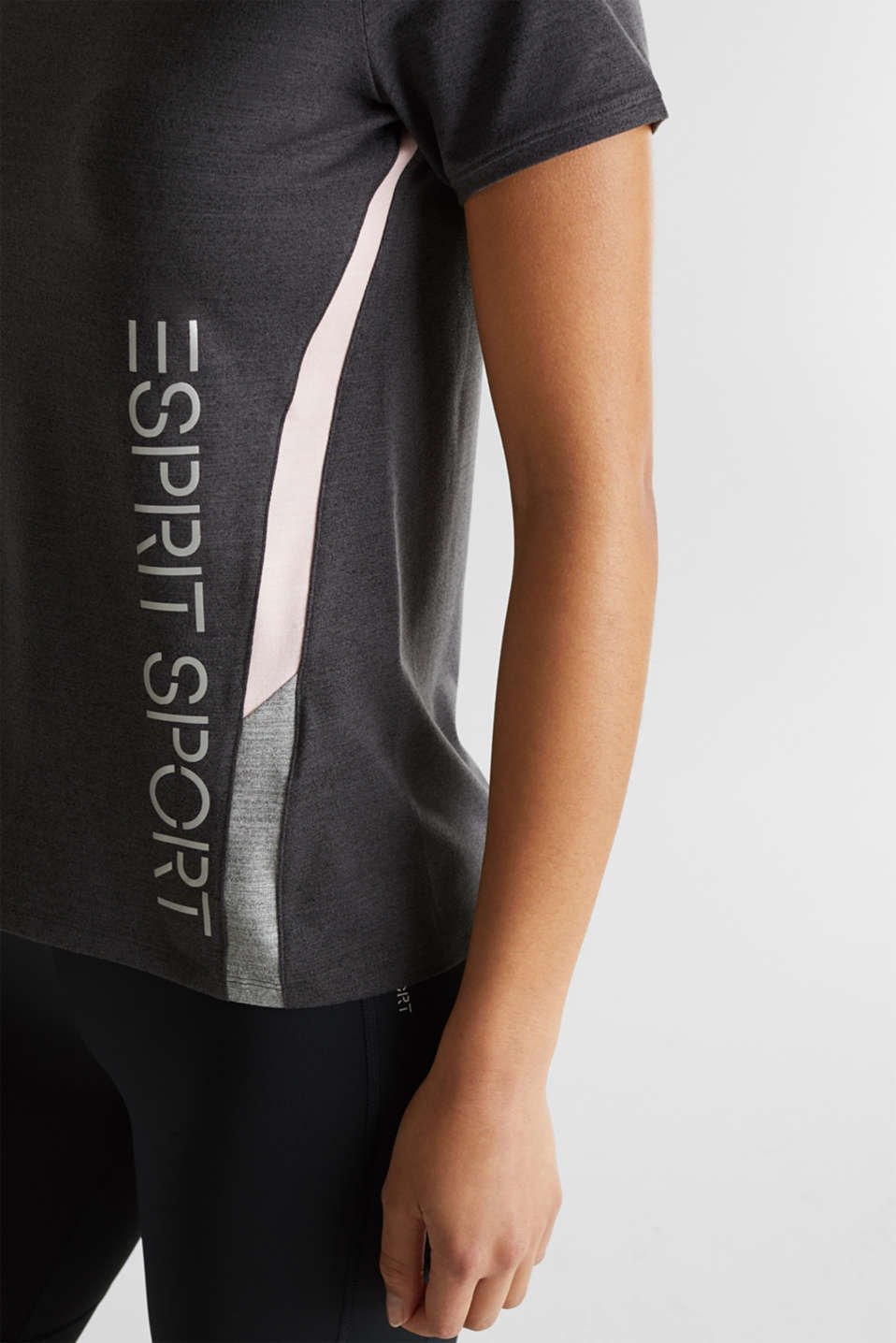 Stretch top with colour block stripes, E-DRY, ANTHRACITE 2, detail image number 2