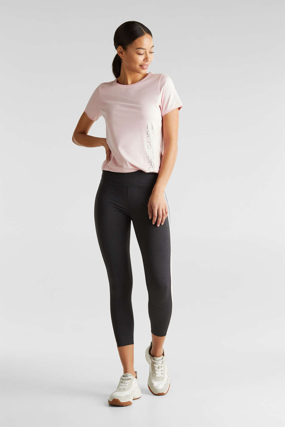 Stretch top with colour block stripes, E-DRY, LIGHT PINK 2, detail image number 1