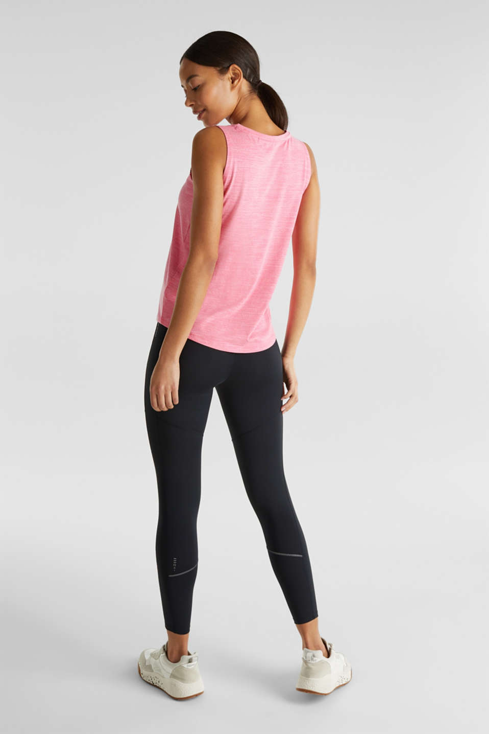 NEON melange active print top, E-DRY, CORAL 2, detail image number 3