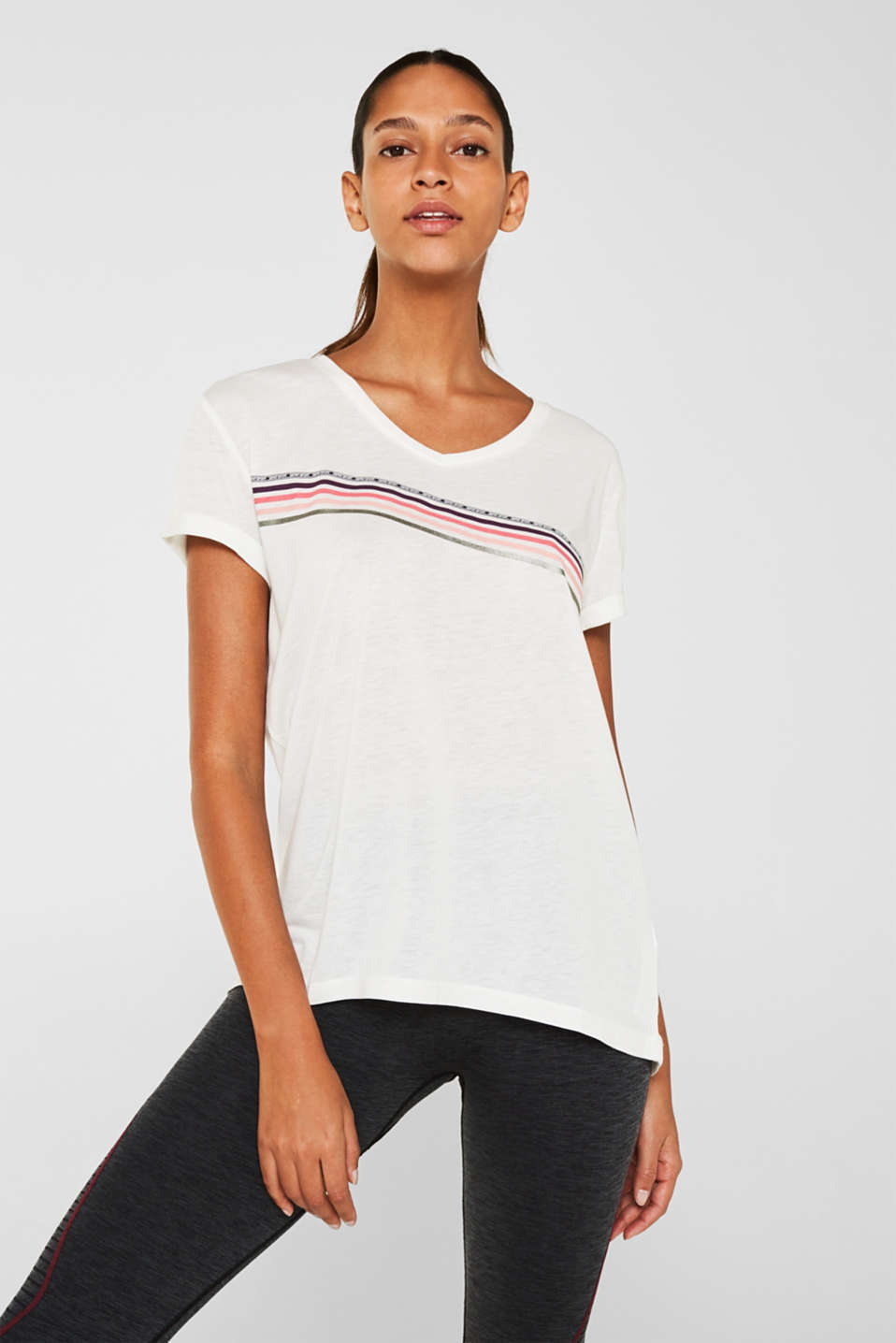Esprit - Melange T-shirt with glittering stripes