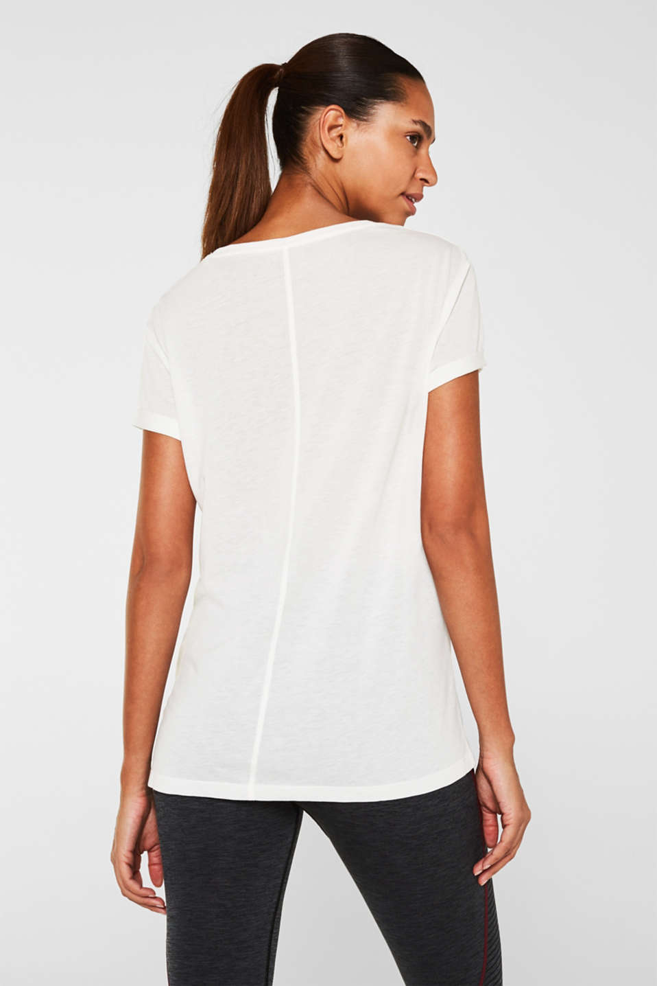 Melange T-shirt with glittering stripes, OFF WHITE, detail image number 2