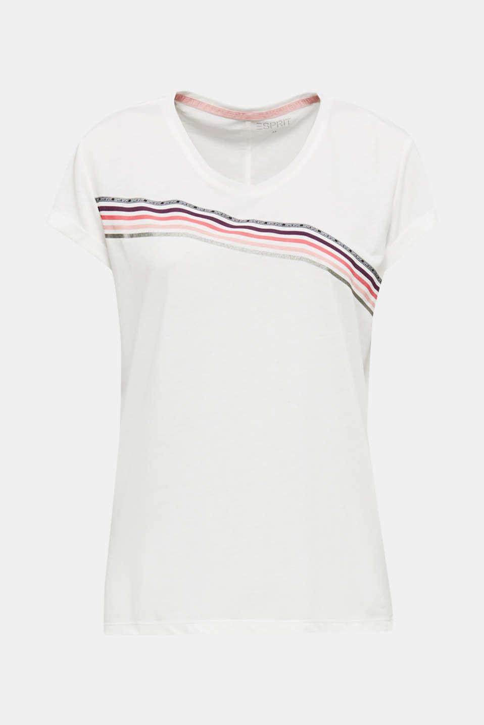Melange T-shirt with glittering stripes, OFF WHITE, detail image number 5