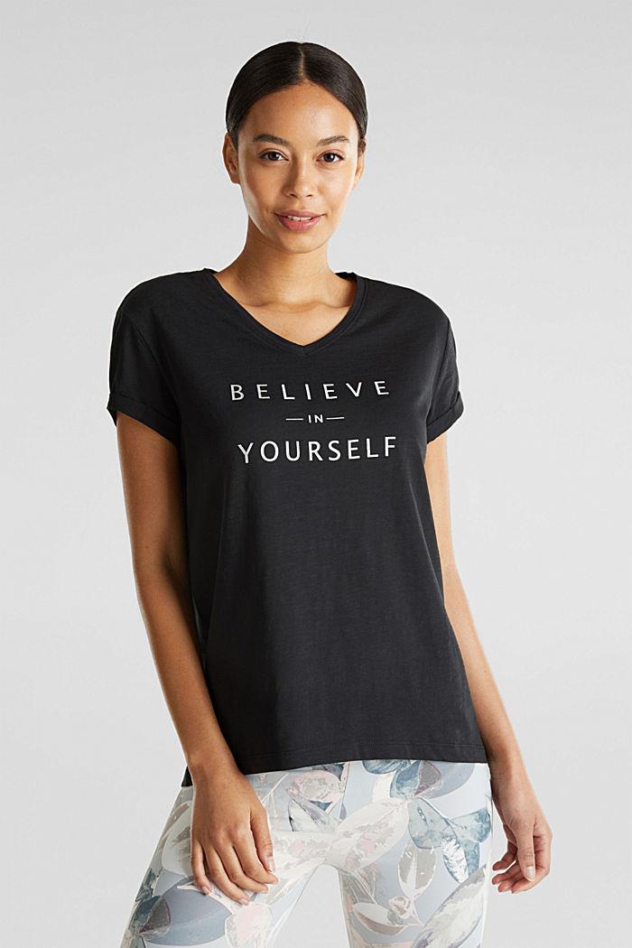 T-shirt met statement van 100% biologisch katoen, BLACK, detail image number 0