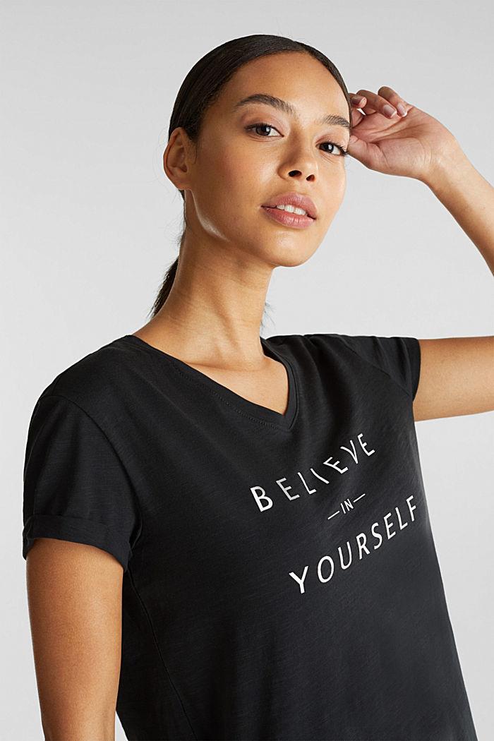 T-shirt met statement van 100% biologisch katoen, BLACK, detail image number 2