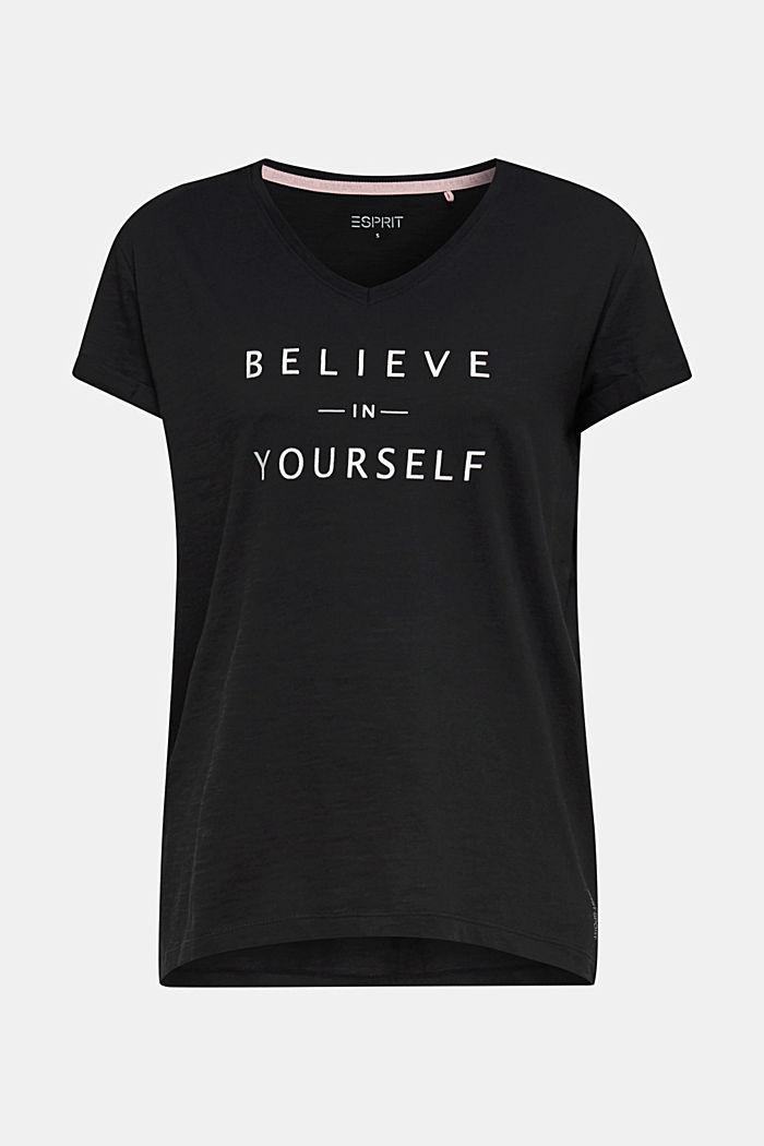 T-shirt met statement van 100% biologisch katoen, BLACK, detail image number 5