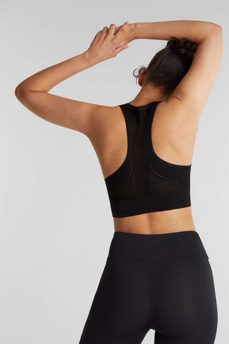 Seamless sports bra, E-DRY, BLACK, detail image number 1