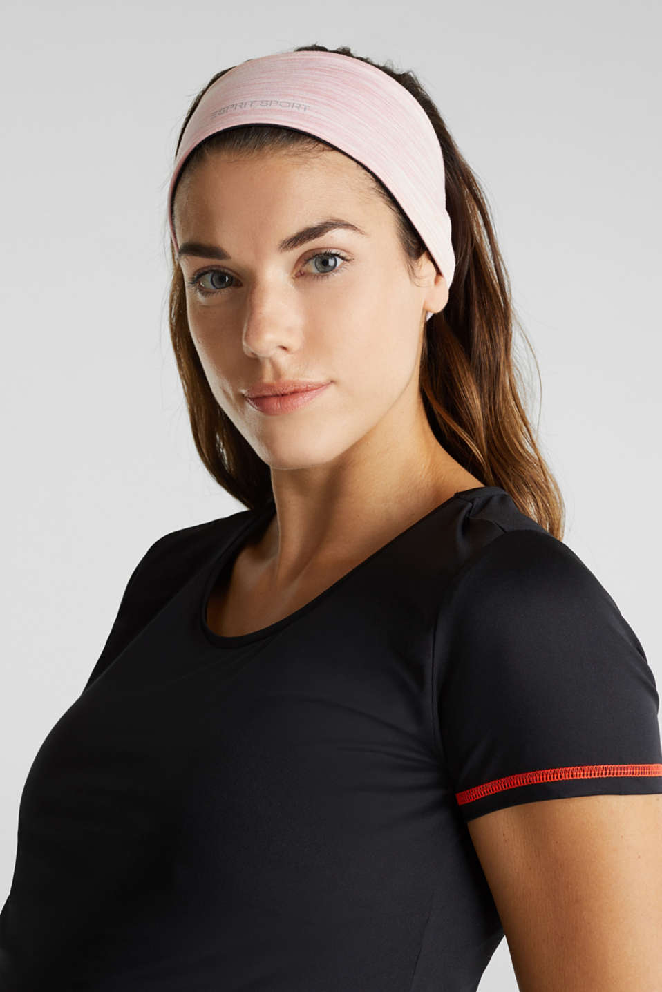 Reversible stretch jersey headband, LIGHT PINK 2, detail image number 2
