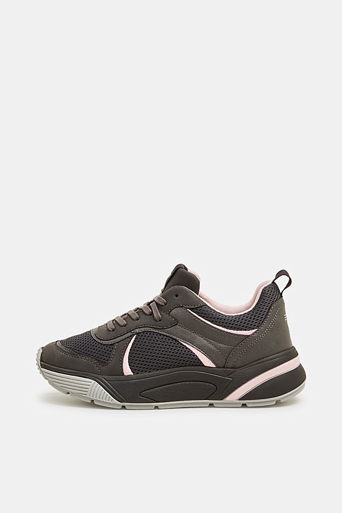 Chunky trainers in a material mix, GUNMETAL, detail image number 0