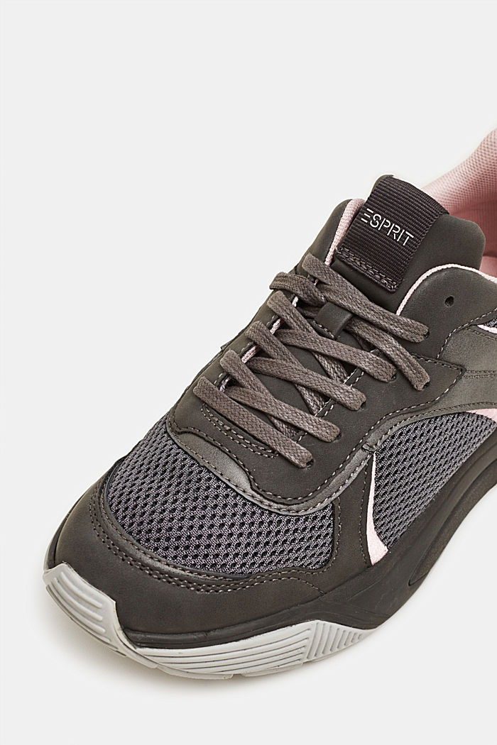 Chunky trainers in a material mix, GUNMETAL, detail image number 4
