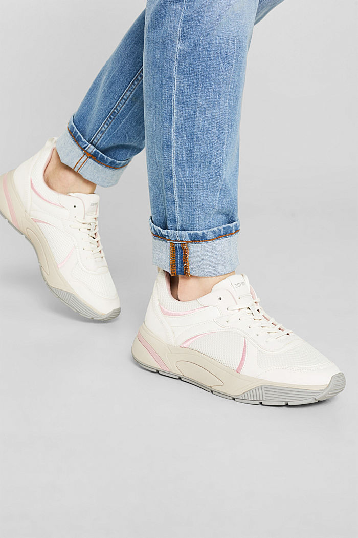 Chunky Sneaker mit Material-Mix, WHITE, detail image number 2