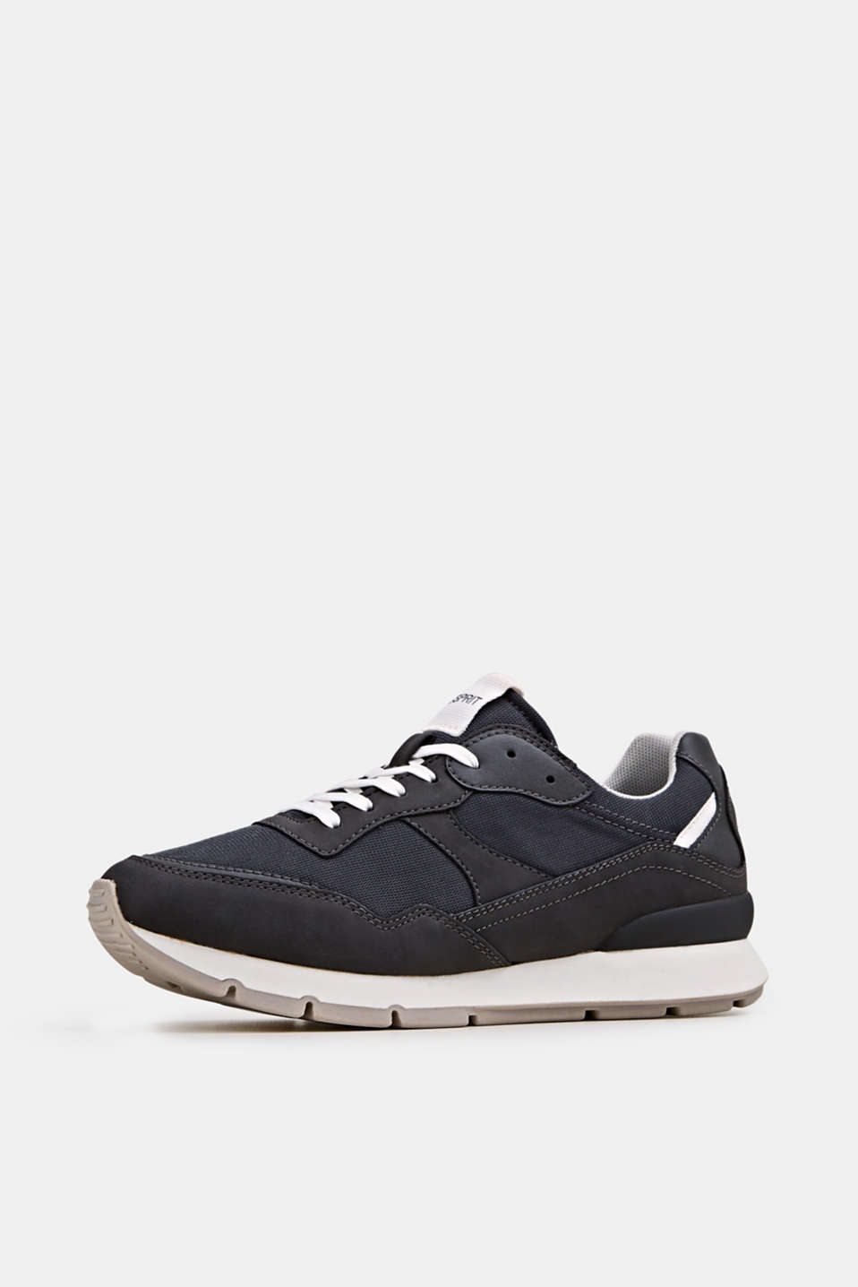 Retro material mix trainers, GUNMETAL, detail image number 1
