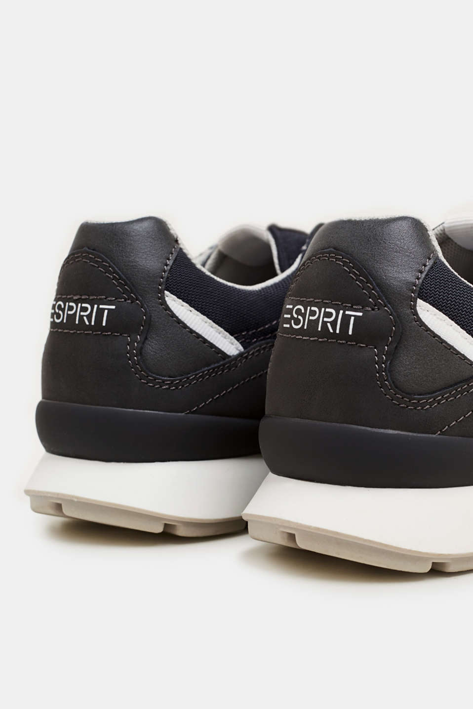 Retro material mix trainers, GUNMETAL, detail image number 4