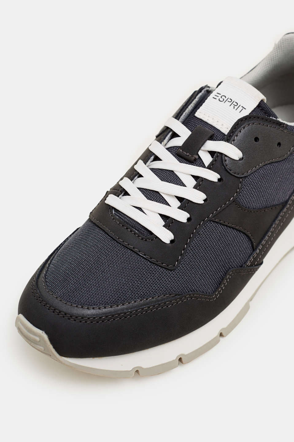 Retro material mix trainers, GUNMETAL, detail image number 3
