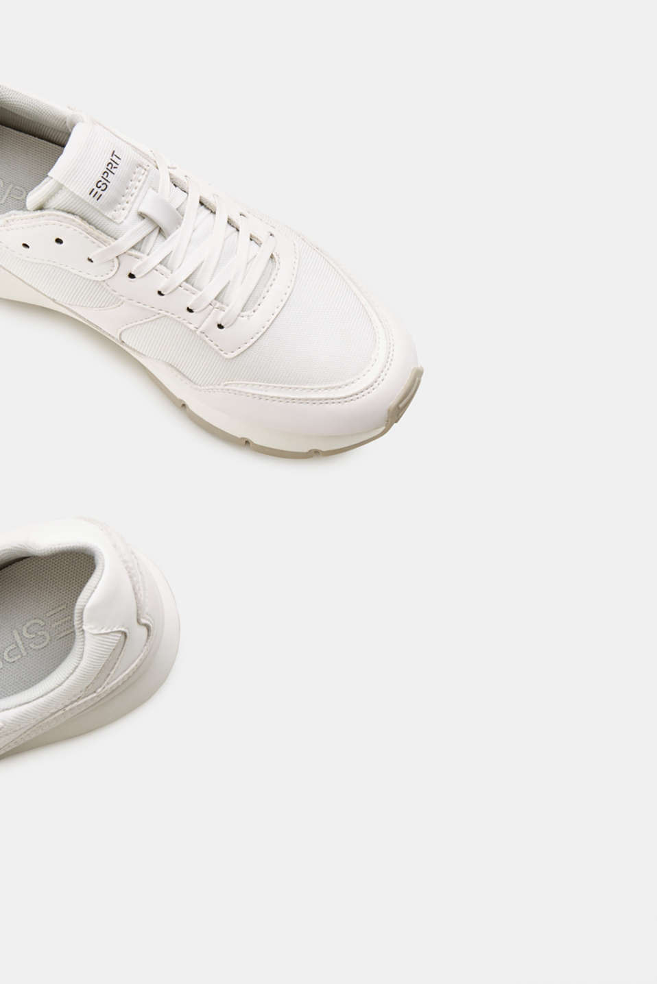 Retro material mix trainers, WHITE, detail image number 3