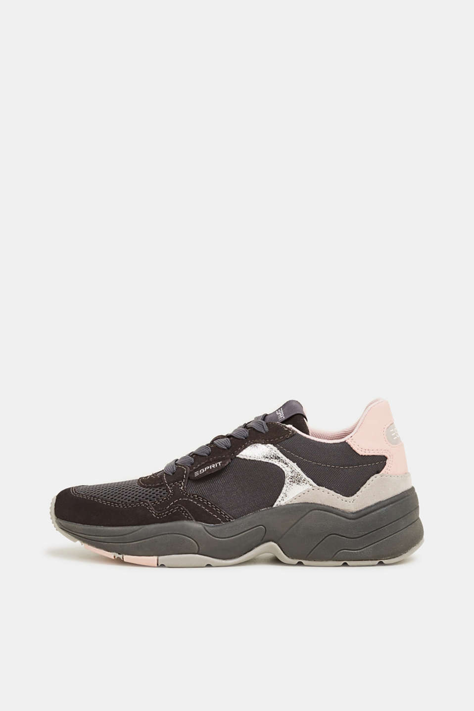 Mixed material trainers with leather