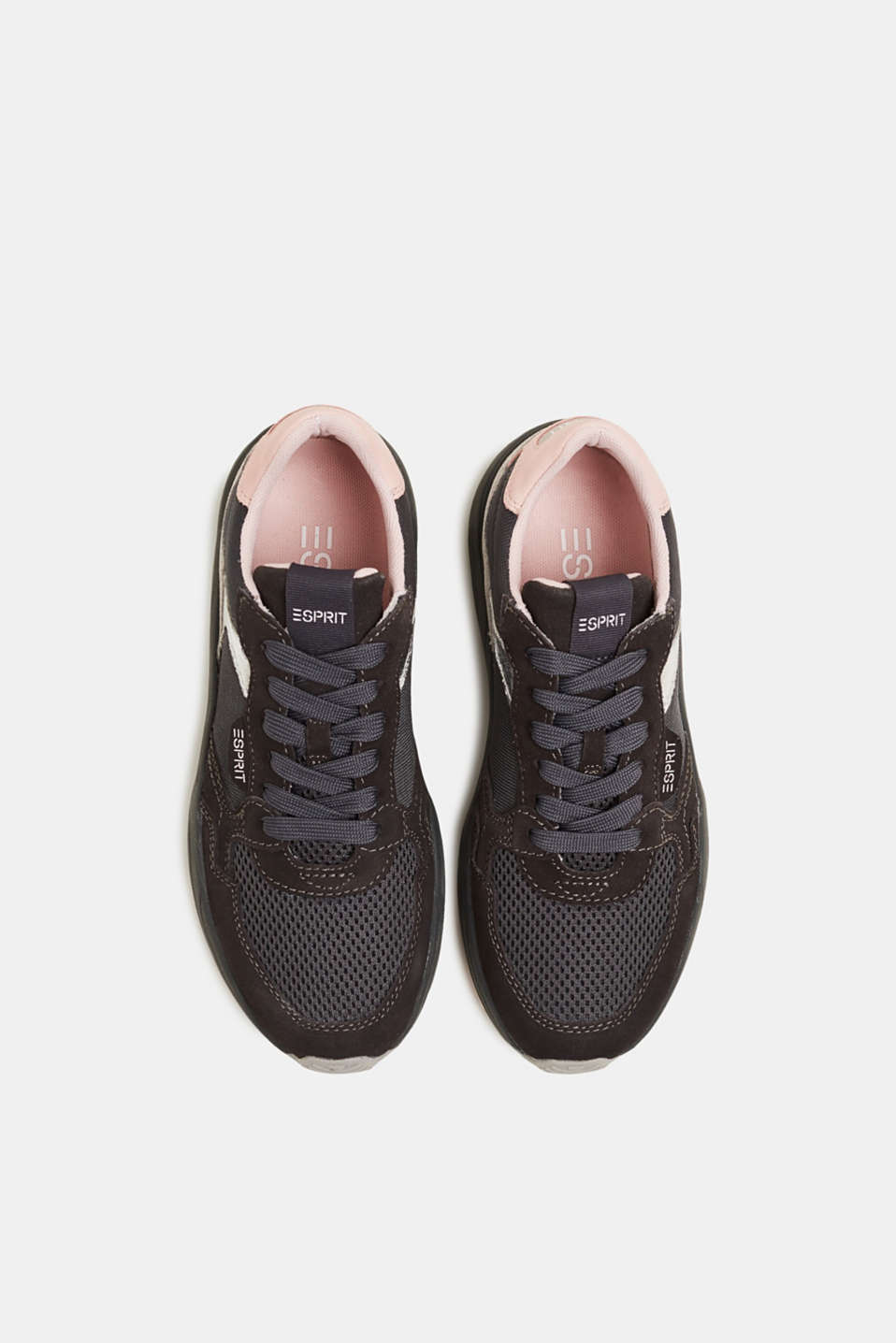 Mixed material trainers with leather, GUNMETAL, detail image number 1