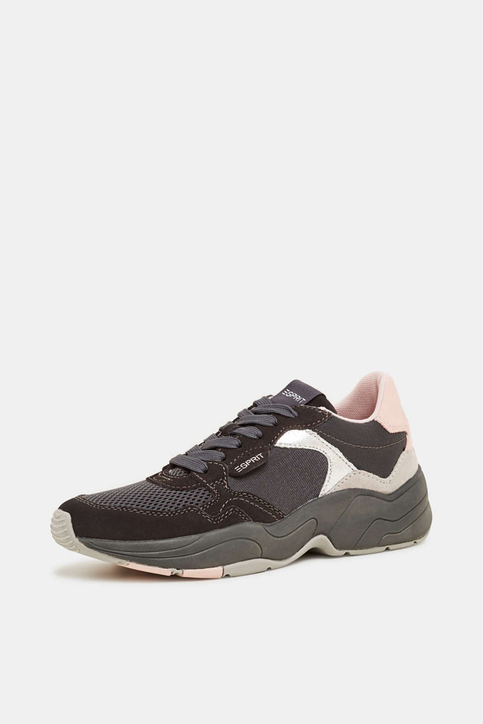 Mixed material trainers with leather, GUNMETAL, detail image number 2