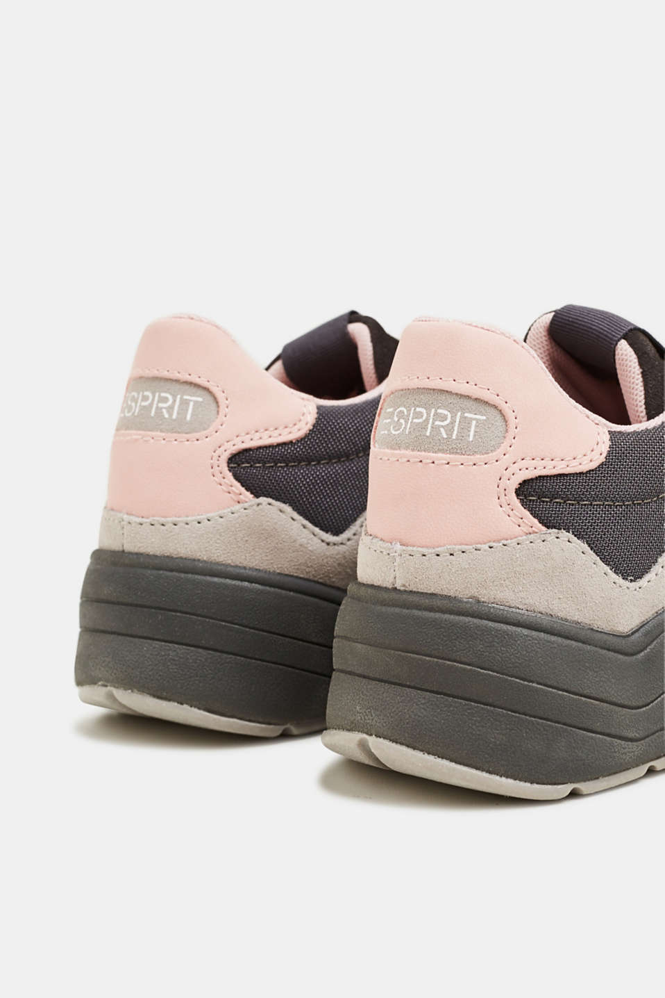 Mixed material trainers with leather, GUNMETAL, detail image number 5